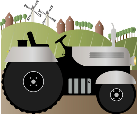 Vector illustration of a tractor on the road farm