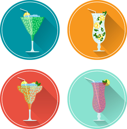 Alcohol drinks and cocktails icon set. Vector illustration set