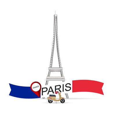 France Paris Eiffel tower.Vector illustration retro tour