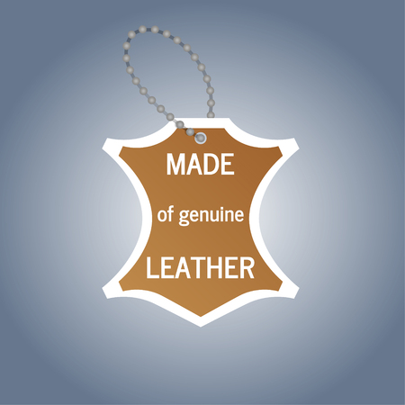 The tag that says genuine leather object vector  イラスト・ベクター素材