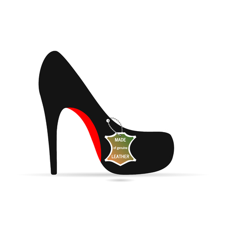 A womans Shoe, labutin with tag object vector Illustration
