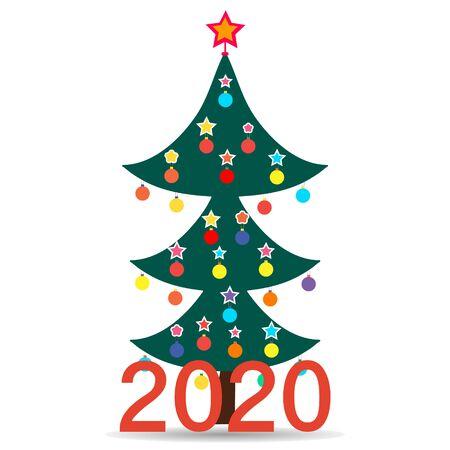 Vector illustration. New year 2020 green fir trees