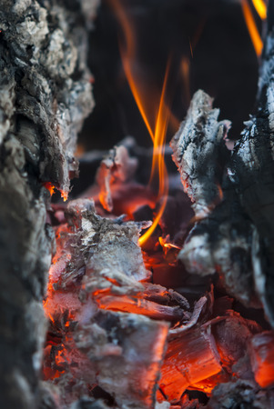 burns: the burning charcoal brightly burns with red fire Stock Photo