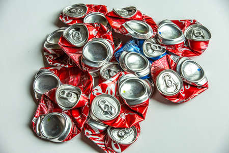 crushed cans: Recycling of Soft Dink cans