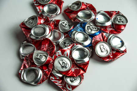 crushed cans: Recycled Cans Stock Photo