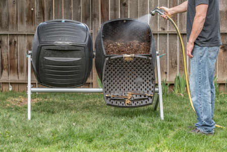 Man doing composting