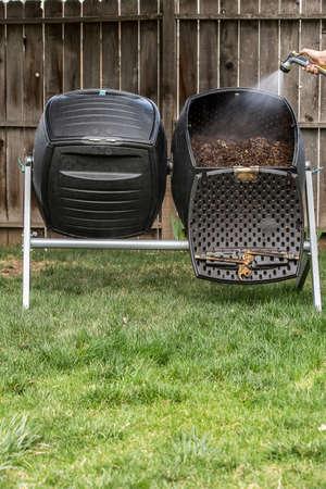 Compost being kept moist