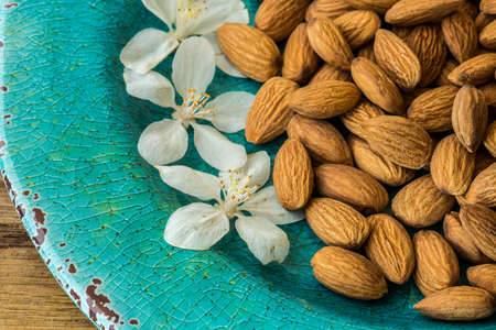 Almonds on Blue plate