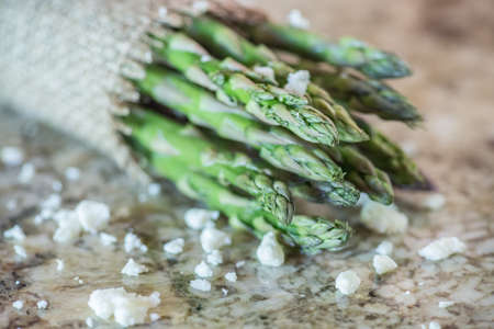 Asparagus on granite counter
