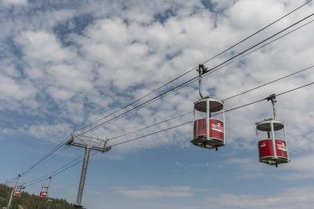Vintage Hotel ski gondolas Stock fotó - 85227659