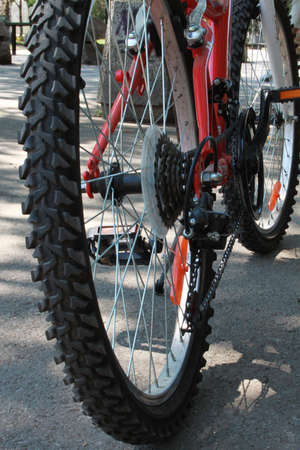 Close-up picture of a part of bicycle, detail photo