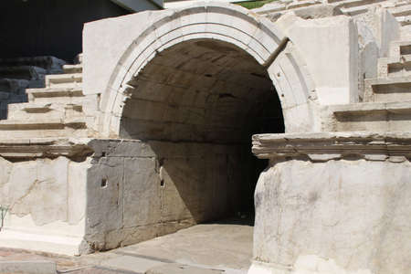 teatro antico: Arco di pietra del vecchio teatro antico Ploviv, Bulgaria Archivio Fotografico