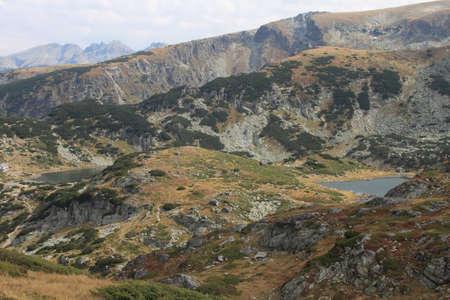 Landscape with two lakes in Rila mountain, Bulgaria photo