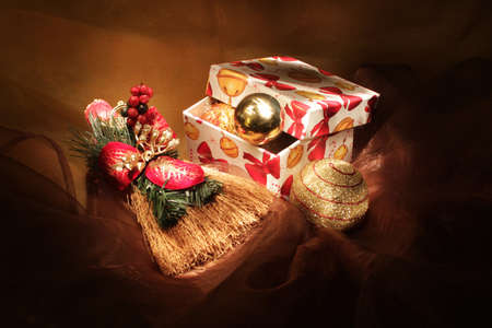 colrful: Handmade gift box with christmas toys, isolated Stock Photo