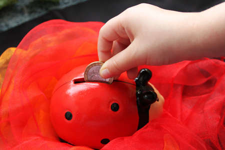 Ladybug box on red cloth and children hand with coin