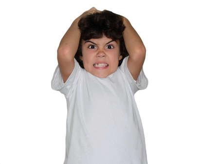 enfant fach�: Studio portrait d'un enfant en col�re Banque d'images