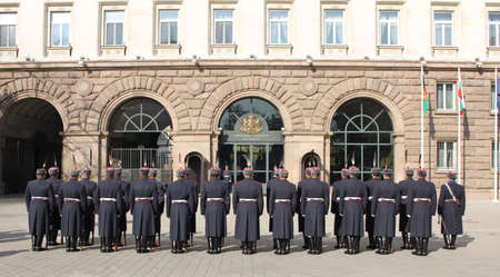 Bulgarian guard regiment salutes a new ambassador to Bulgaria, Sofia, 5. 03. 2013 Stock Photo - 18250769