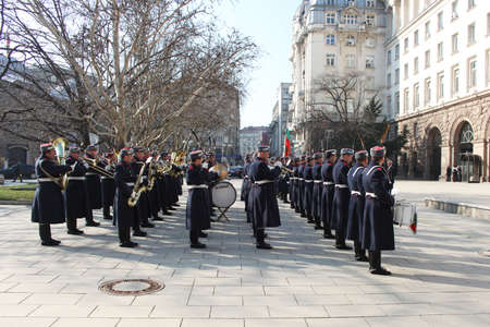 Bulgarian guard regiment salutes a new ambassador to Bulgaria, Sofia, 5. 03. 2013 Stock Photo - 18250777