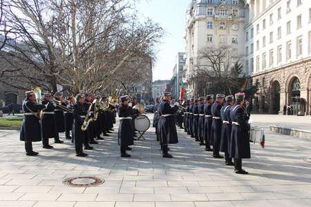 salutes: Bulgarian guard regiment salutes a new ambassador to Bulgaria, Sofia, 5. 03. 2013