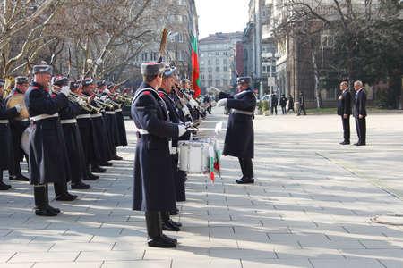 Bulgarian guard regiment salutes a new ambassador to Bulgaria, Sofia, 5. 03. 2013 Stock Photo - 18250771