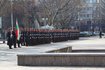 Bulgarian guard regiment salutes a new ambassador to Bulgaria, Sofia, 5. 03. 2013 Stock Photo - 18250776