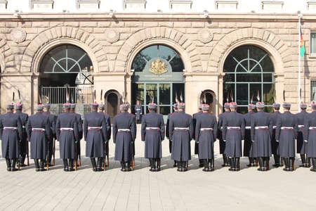 Bulgarian guard regiment salutes a new ambassador to Bulgaria, Sofia, 5. 03. 2013 Stock Photo - 18250775