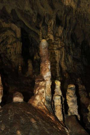 Stalactites and stalagmites in cave Snejanka (Snow white) in Bulgaria photo
