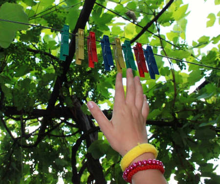 clothes pegs: Abstract picture of colors with clothes pegs and children hand