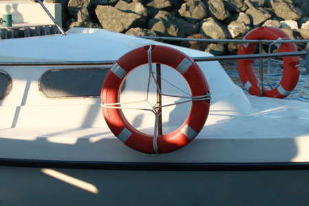 life preserver: Part of yacht with life preserver  Stock Photo