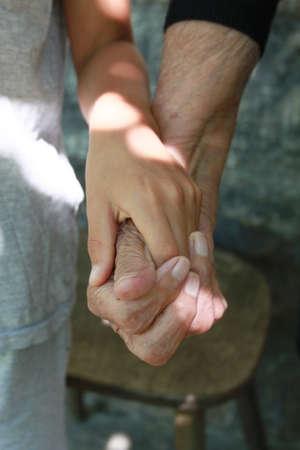 Children hand in grannys hands photo