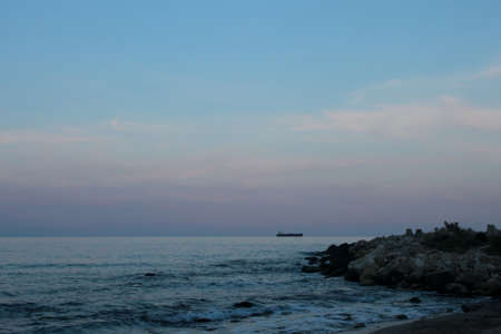 the black sea: Romantic sunset over the Black sea coast Stock Photo