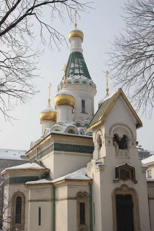 wintertime: Russian church in Sofia in wintertime