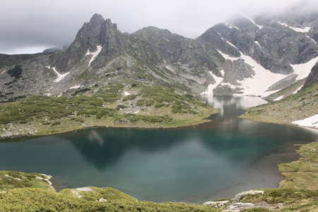 General view from Rila mountain in Bulgaria with one of the seven Rila lakes