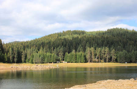 autumn colour: General view of Shiroka polyana dam in Bulgaria Stock Photo