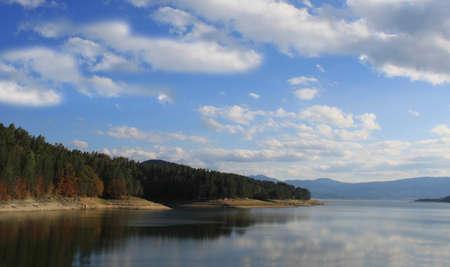 autumn colour: General view of Batak dam in Bulgaria