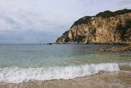 A picture of beautiful Paleokastritsa beach on Corfu Island Imagens - 100621833