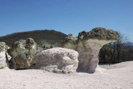 Natural phenomenon Stone Mushrooms located near the road between Haskovo and Kardzhali in Bulgaria