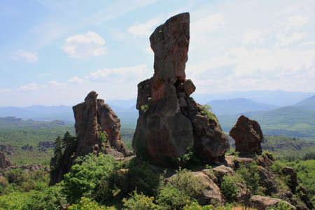 The rocks of Belogradchik are rock sculptures, situated near the town of Belogradchik in Bulgaria. They contain groups of rock figures resembling people, animals, fortresses, pyramids or different objects.