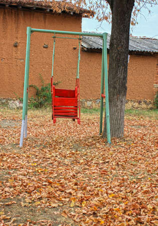 An autumnal picture with a single swing in a back yard
