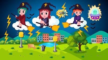 Vector Halloween Illustration Cute Cartoon Witches.The illustration of cute cartoon vector Halloween witches riding bloom at night. 写真素材 - 109574598