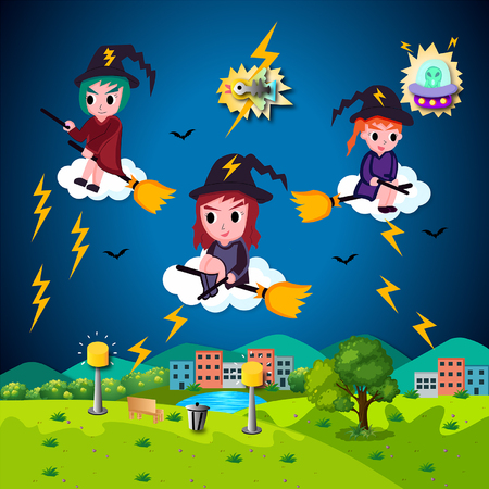 Vector Halloween Illustration Cute Cartoon Witches.The illustration of cute cartoon vector Halloween witches riding bloom at night.