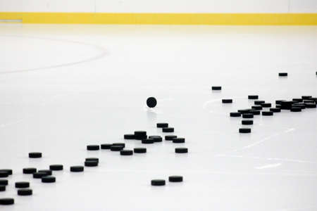dozens: Dozens of hockey pucks on smooth cut ice with ice skate marks in arena with white and yellow boards and face off circle with puck on edge Stock Photo