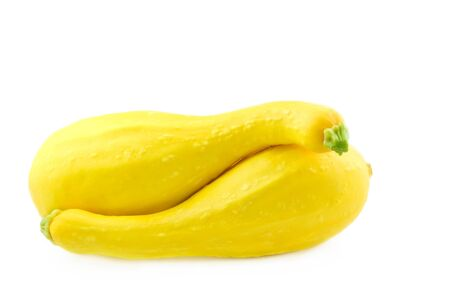Two yellow crookneck squash close to each other, isolated on a white background Stock Photo