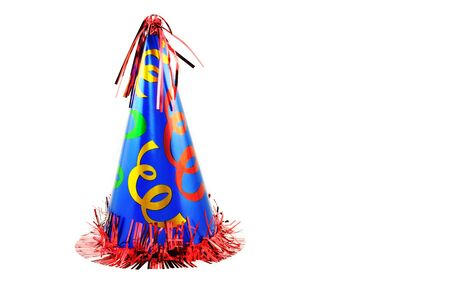 A colorful party hat isolated on a horizontal white background Imagens