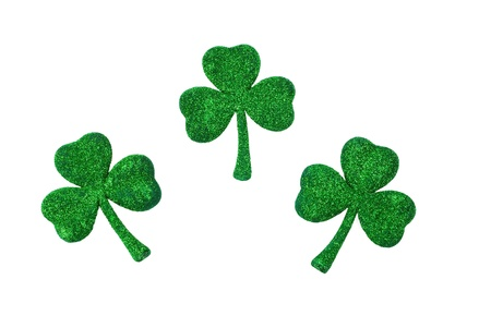 Three Shamrocks isolated on white background with copy space Stock Photo - 8993968