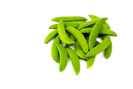 Fresh Snow Peas isolated on a white background copy space photo