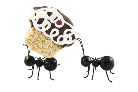 Two toy ants carrying a cupcake, isolated on white background