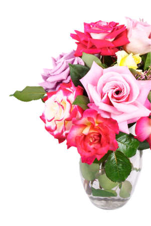 home grown: A vase of beautiful home grown roses, on a white vertical background with copy space Stock Photo
