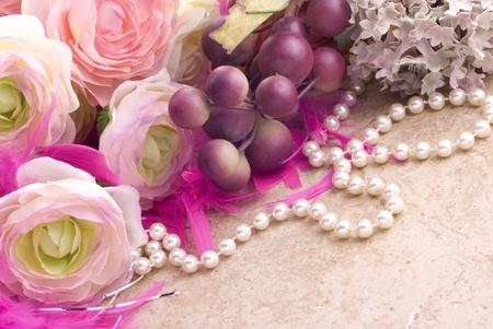 Feminine  Flower And Pearls Background
