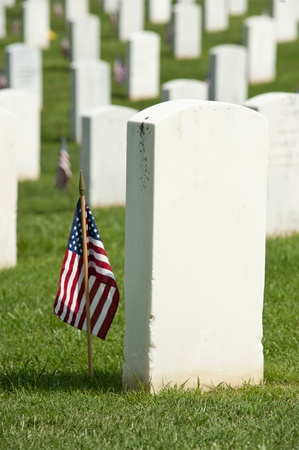 military cemetery: National Cemetery tombstones with flags on Memorial Day, selective focus shallow depth of field Stock Photo